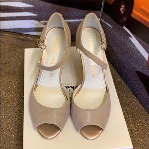 Ann Klein Taupe color peep toe heels